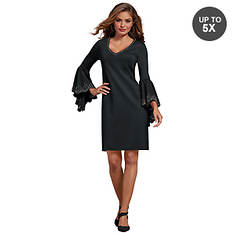 Stud-Trimmed Bell-Sleeved Dress