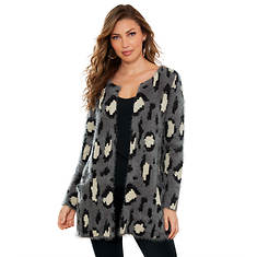 Patterned Open-Front Sweater
