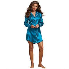 Satin Button-Up Sleep Shirt
