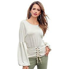 Corset-Waist Sweatshirt Top