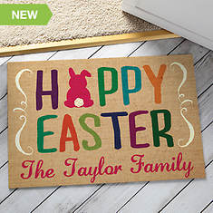 Personalized Hoppy Easter Family Doormat