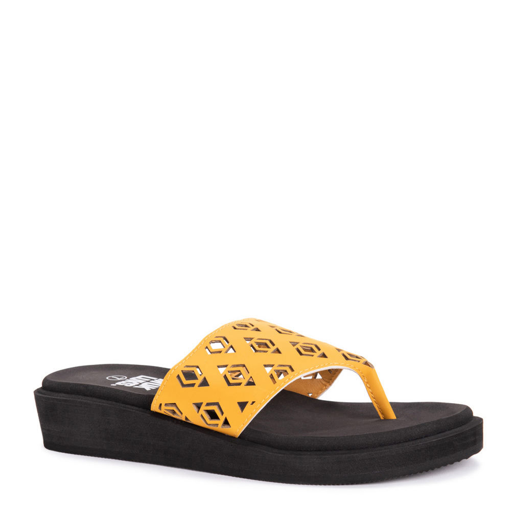 *The MUK LUKS Melanie Wedge sandal might just be your new best friend *Synthetic upper with geometric cutout details *Lightly cushioned EVA insole *Durable EVA sole *1-1/4\\\