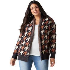 Leopard Fuzzy Open-Front Sweater