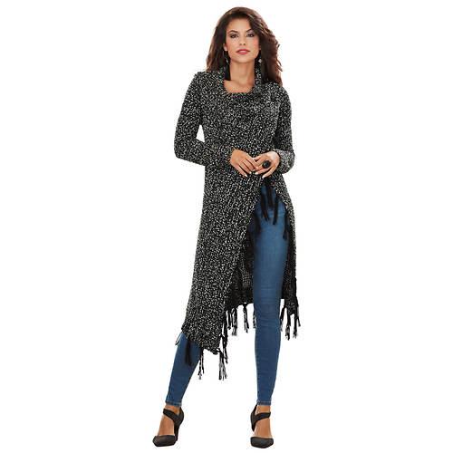 Open-Front Tassel Sweater