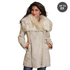 Faux Suede Fur Trim Jacket
