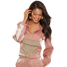Shimmery Satin 3/4-Zip Jacket