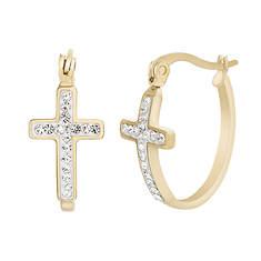 Crystal Cross Hoop Earrings