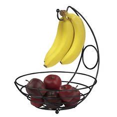 Steel Fruit Bowl With Banana Tree