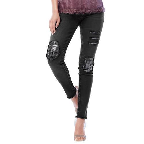 Destructed Sequin Patch Jeans