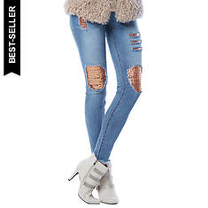 Destructed Sequin Patch Jeans