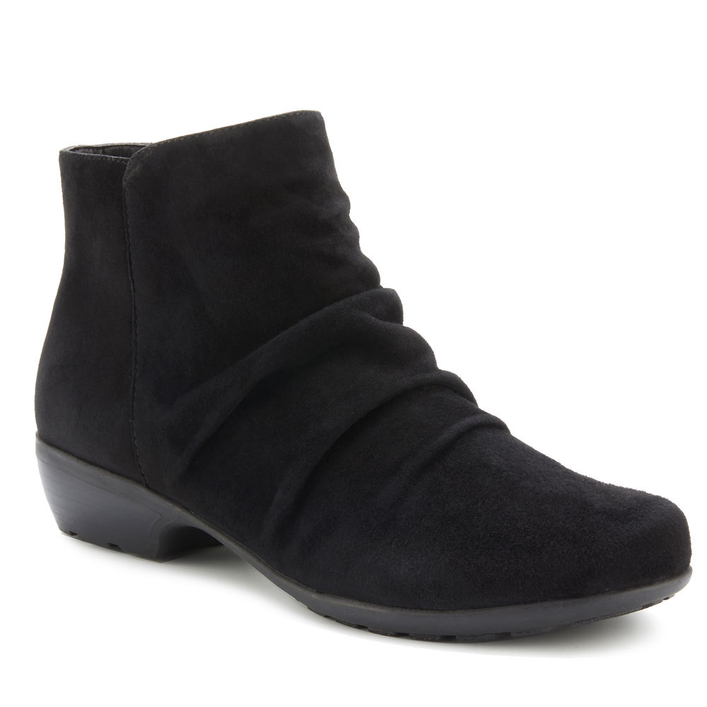*Featuring on-trend ruching this casual-chic boot is ready to complement your transitional looks *Leather upper with ruched detail and elastic gore *Side zipper closure *Cushioned insole *Molded TPR outsole *1-1/4\\\