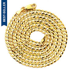 """14K Yellow Gold 18"""" 3.5mm Solid Curb Necklace"""