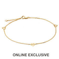 10K Yellow Gold .5mm Rolo Chain Heart Trio Anklet