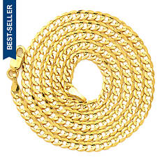 """14K Yellow Gold 24"""" 3mm Solid Curb Necklace"""