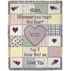 Personalization Mother Touch Heart Throw
