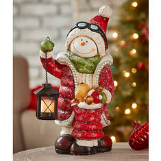 "16"" Snowman with Lighted Lantern"