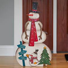 """22"""" Lighted Wooden Snowman"""