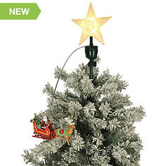 "20"" Santa's Sleigh Animated Tree Topper"