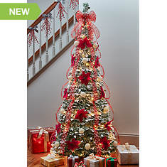 7.5' Flocked Pointsettia Pop-Up Pre-Lit Pre-Decorated Tree