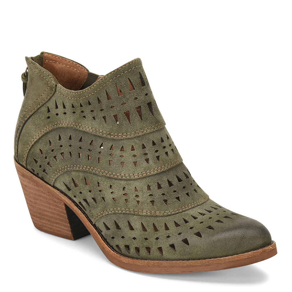*Strut through your day in this modern-chic bootie *Suede leather upper with cut-out detail *Back zipper closure *Leather lining *Lightly cushioned footbed *Lightweight TPR outsole *2-1/4\