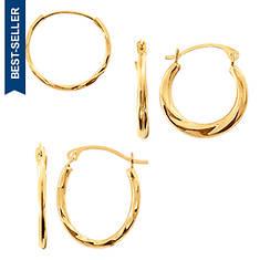 10K Hoop Earring Set