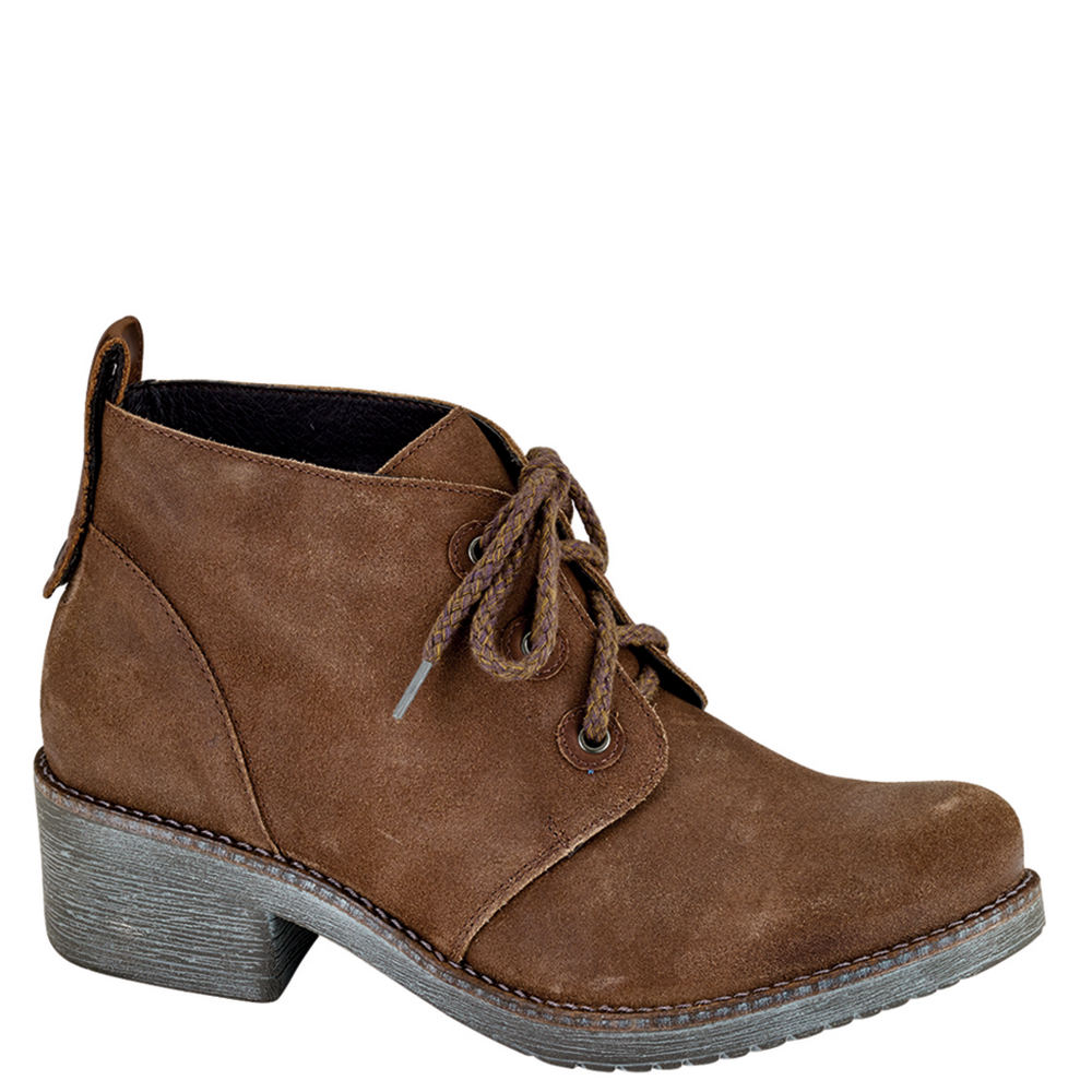 *Kick up your heels and enjoy comfortable style in this charming bootie *Suede leather upper *Lace-up closure *Suede lining *Removable shock-absorbing cork and latex footbed with arch support *Metal shank *Lightweight and durable TPR sole