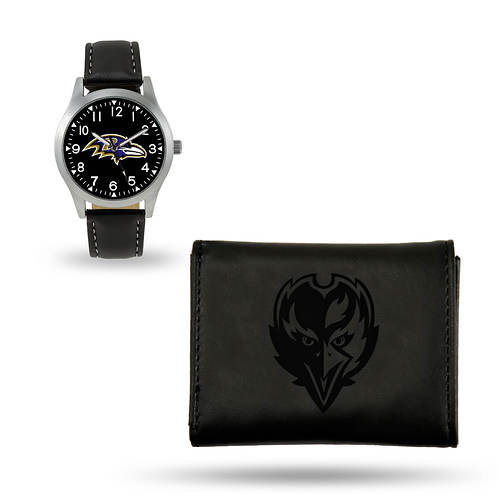 NFL Watch & Wallet Set-Black