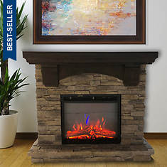 Lifesmart 1200-Watt Polystone Electric Fireplace