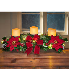 Poinsettia Centerpiece with LED Candles