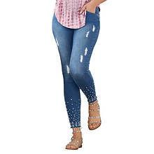 Distressed Studded Cutoff Jean