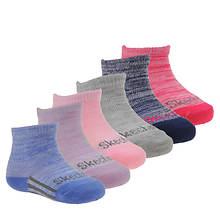 Skechers Girls' S106305 6Pk Infant Non Terry Anklet