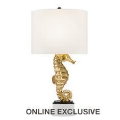 Catalina Lighting 32'' Gold Leaf Seahorse Table Lamp