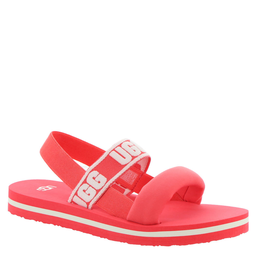 *Nylon upper with UGG® logo graphics *Elastic slingback strap for an easy-on style *Lightly cushioned footbed *EVA midsole and outsole for added comfort *Available in whole sizes only half sizes please order the next size up