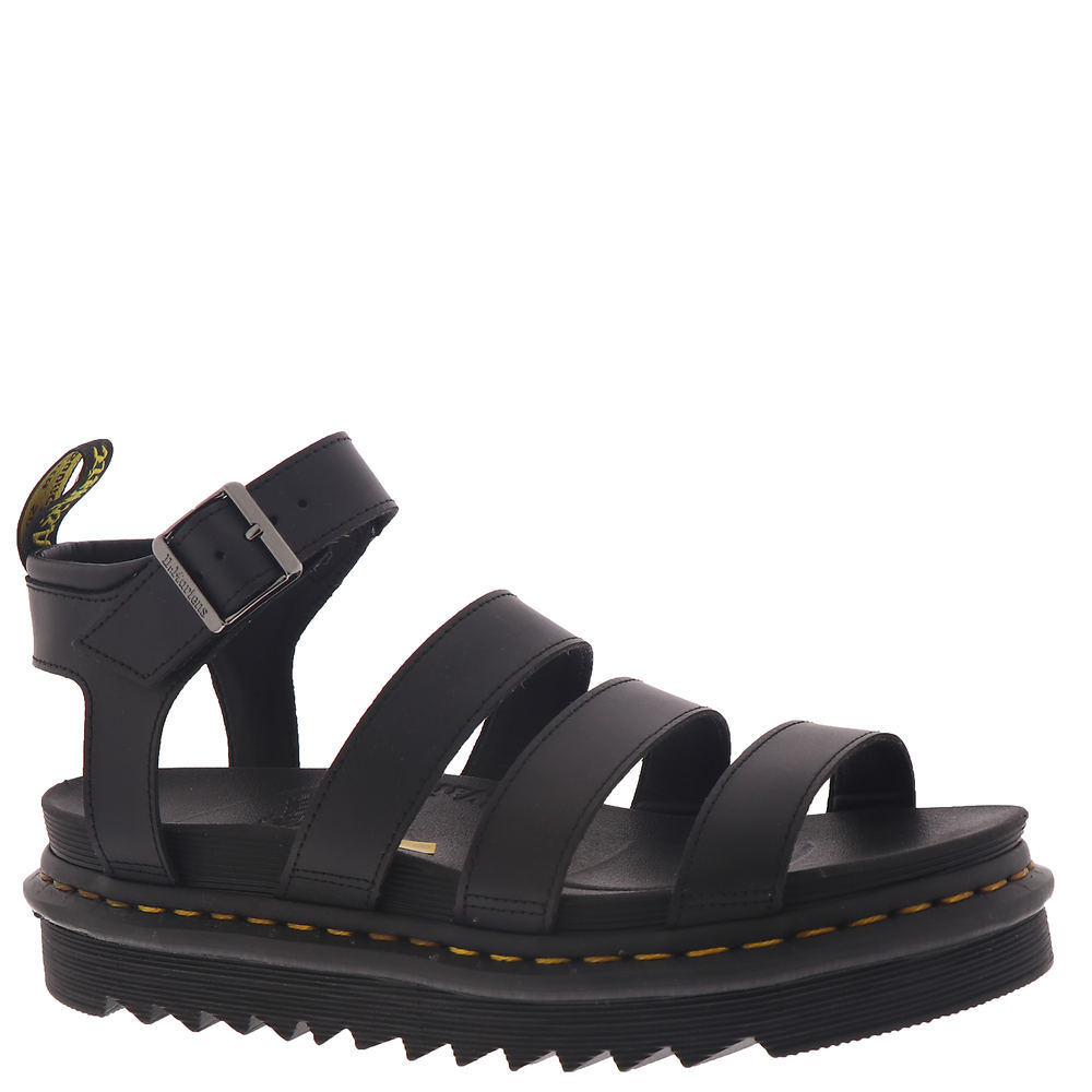 *PU-coated leather upper with a matte finish in a strappy construction *Ankle strap with adjustable buckle closure *Lightly cushioned footbed *Durable treaded outsole *2\\\