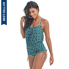 Blouson Rouched One-Piece Swimsuit