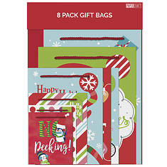 8-Pack Whimsical Christmas Gift Bags
