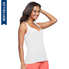 Notch-Front Rib Knit Tank