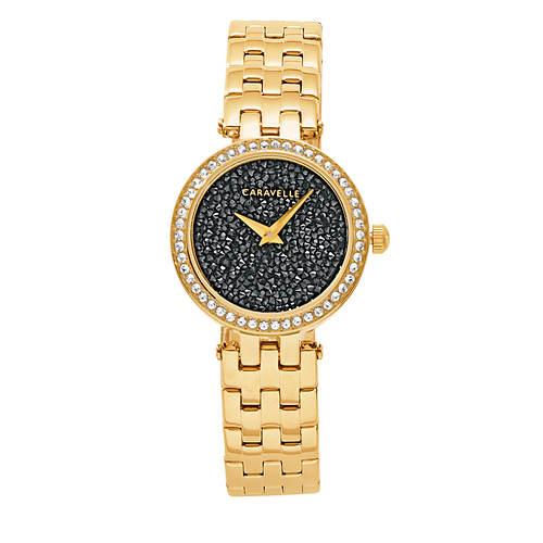 Carvelle Women's Black Crystal Watch