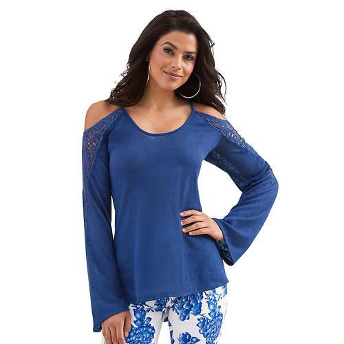 Cold-Shoulder Crochet Inset Sweater