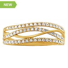 14K Gold-Plated Diamond Swirl Ring
