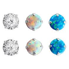 Opal/CZ Trio Earrings Set