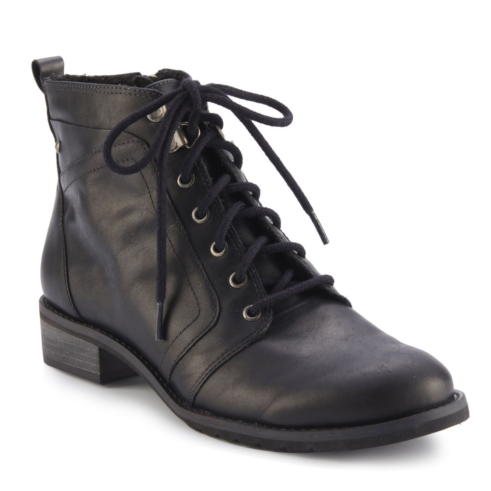 *This trendy military-inspired bootie makes such a statement paired with any outfit *Leather upper *Inside zipper and adjustable laces *10-1/4\\\