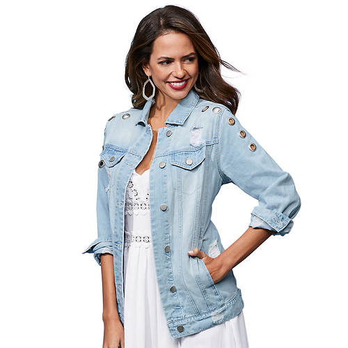 Destructed Grommet Jean Jacket