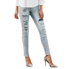 Contrast Destructed Denim Jean