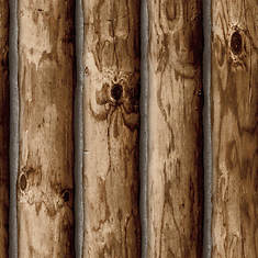 RoomMates Cabin Logs Peel and Stick Wallpaper
