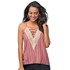 Lace-Up V-Neck Crochet-Trim Tank