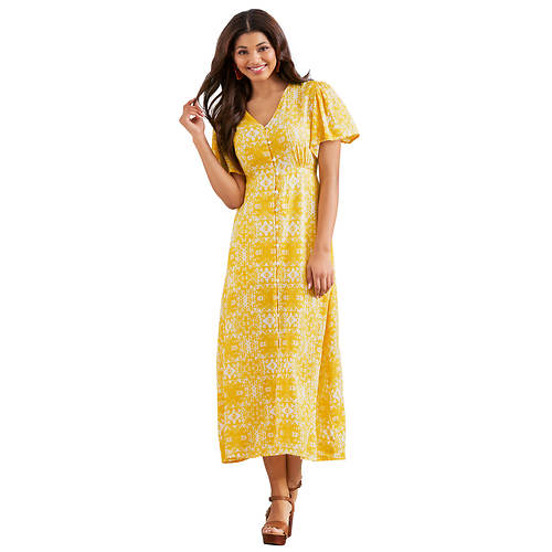Woven Button-Front Dress