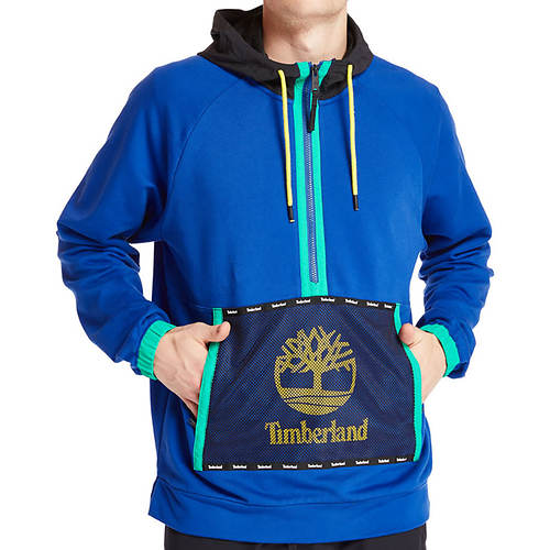 Timberland Men's Mesh Mix Media Pull Over Hoodie Sweatshirt