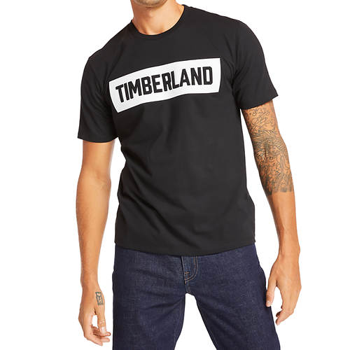 Timberland Men's Mink Brook 3D Embossed Brand Carrier Tee