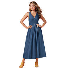 Deep V Smocked Midi Dress